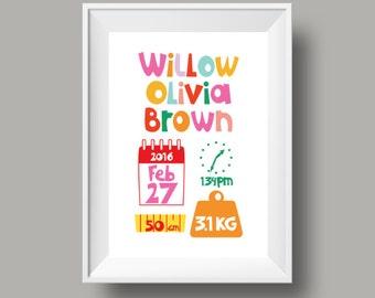 "Personalised Girls Birth Announcement. Retro Nursery Decor Print Gift. A4 / 8"" x 10"" Poster. Custom bespoke design. Typography."