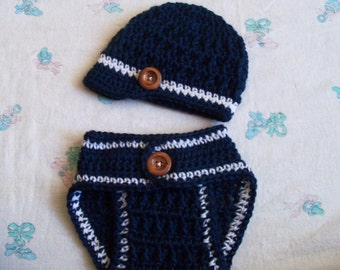 Crochet Baby Boy Hat and Diaper Cover Set  (0-3 Months)