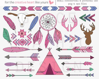 Tribal Clipart, TeePee Clipart, Dream Catcher Clipart, Feather Clipart, Arrow Clipart, Hand Illustrated Digital Graphics, Commercial Use art