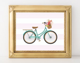 Bicycle Printable Art Print Nursery Bicycle Print Bike with Flower Basket Pink Nursery Decor Aqua Nursery Art 5x7 8x8 8x10 Instant Download