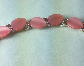 Vintage Bracelet, Signed Lisner,  Pink  Thermoset Leaves,  Moonglow