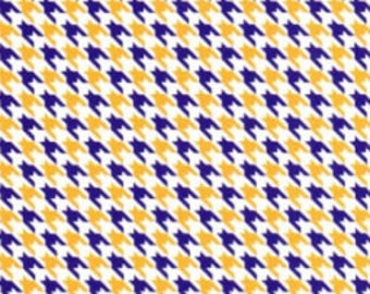 Purple and Gold Houndstooth Fabric – Mini Houndstooth, Fabric Finders,100 percent cotton