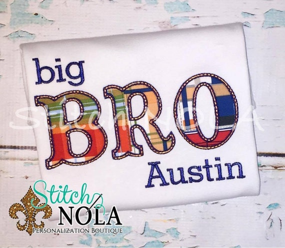 Big Bro Shirt, Big Brother Shirt, Big Bro, Sibling Set, Madras Plaid Big Bro