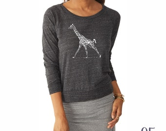 Giraffe Shirt. Slouchy Pullover. Giraffe Sweater.