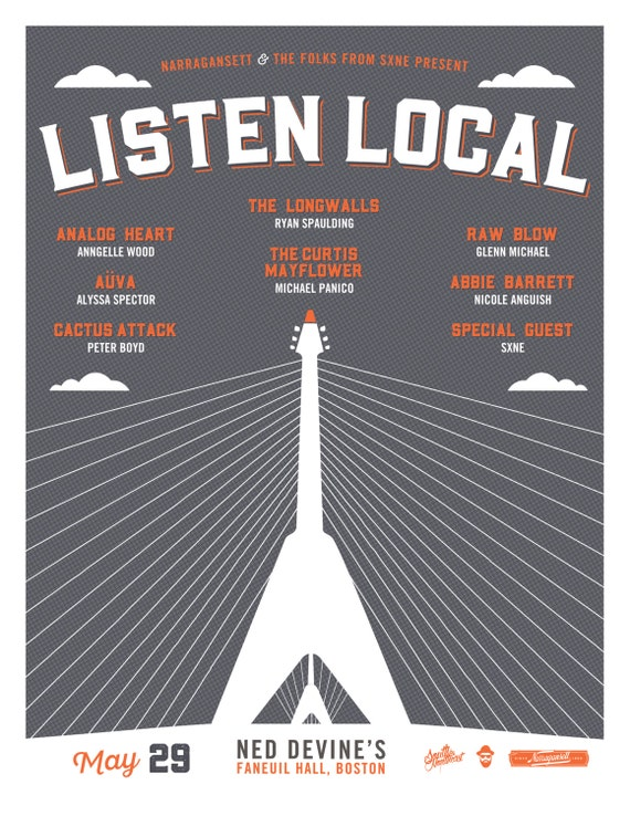 Listen Local Gig Poster // Ned Devine's, Boston