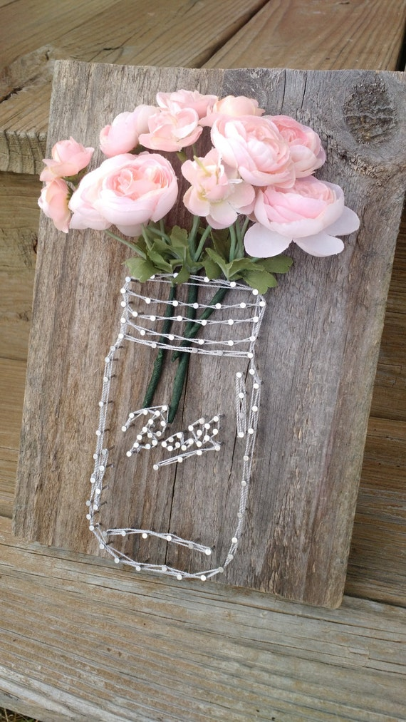 Mason Jar And Flowers String Art By Mandaspandemonium On Etsy