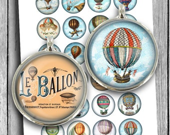 "Hot Air Balloon Digital Collage Sheet Printable Download 1.5"" 30mm 25mm 1""  Circle Images for Cabochons, Pendants Instant Download"