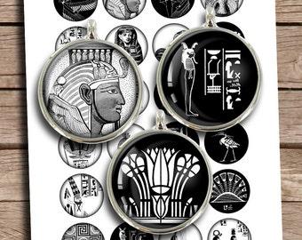 "Ancient Egypt Circles 25mm 1"" 30mm 1.5"" Bottle cap Printables Digital Collage Sheet Instant Download"