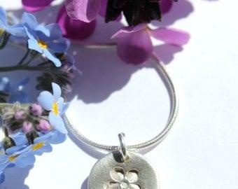 Tiny silver flower necklace, flower pendant, fine silver flower, flower necklace, tiny flower pendant