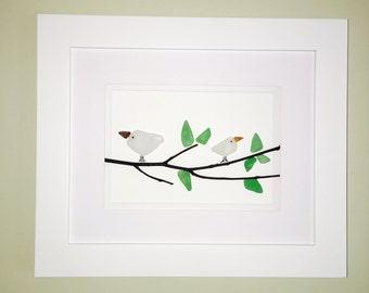 Two White Birds - Sea Glass Bird Art