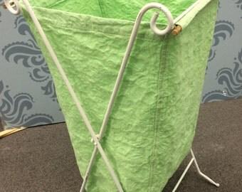 Vintage Wrought Iron Folding Laundry Hamper
