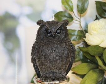 Gift Idea - Black candle - Christmas Gift - Owl Candle - Pillar Candles