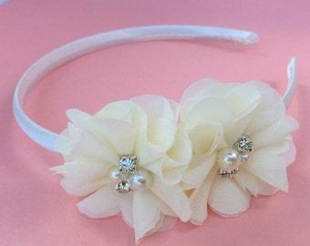 Ivory headband, girls cream headband, satin headband, flower girl headband, hard headband, ivory wedding headband, chiffon headband girls