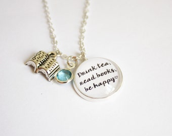 Booklovers necklace. Bookworm. Book nerd. Upon a time. More chapter. Pemberley. Narnia. Drink tea. A book a day