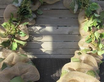 10' Greenery Garland Floral Garland Deco Mesh Garland Garden Garland Green Leaf Garland Everyday Garland Greenery Door Decor Vine Garland
