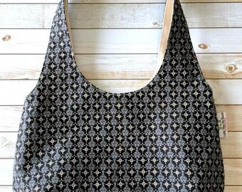 Black Hobo Bag, Shoulder Bag, Reversible Purse, Over The Shoulder Bag, Sling Bag, Medium Size Purse, Canvas Bag
