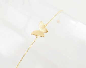 Petite Brushed Gold Butterfly Bracelet