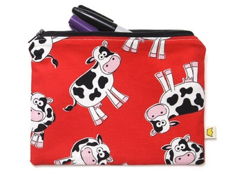 Cow pencil case, red zippered pouch