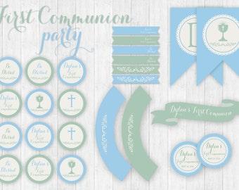 First Holy Communion boy party printable set custom full collection,, First  Holy Communion party printable boy