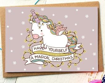 Funny Christmas Card - Unicorn Card - Funny Holiday Card - Funny Friend Card - Funny Cards - Holiday Cards - Unicorn Gift - Xmas Cards