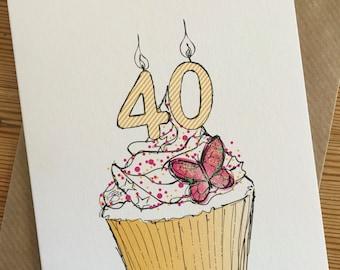40th CUPCAKE Birthday Card