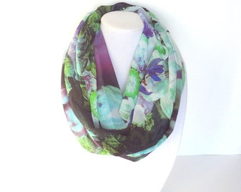 Floral Scarf, Spring Scarves, Infinity Scarves, Printed Scarf, Gift For Her, Fashion Accessory, Digital Print Scarf