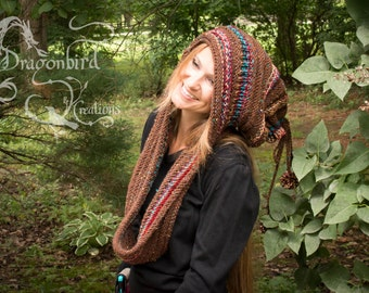 Hooded Scarf, Hooded Cowl, Knit Hood, Hat and Hood Combo, Infinity Cowl With  Hood, Infinity Scarf With  Hood, Hand Knitted Scarf