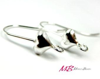 1 Pair Sterling Silver Heart Earring Hooks, Heart Ear Wires, 23mm