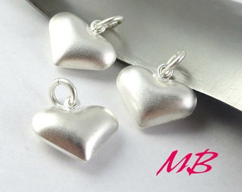 13x 11.8mm Sterling Silver Heart Charm, Pendant with 3mm Closed Jump Rings