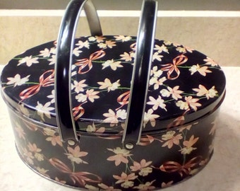 Vintage tin with handles, pink orchids and bows, sewing basket, collectible tin, Vintage tin container, Cookie tin, picnic basket,