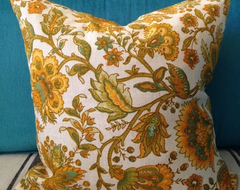 Vintage Floral Cushion Cover - Natural/Yellow