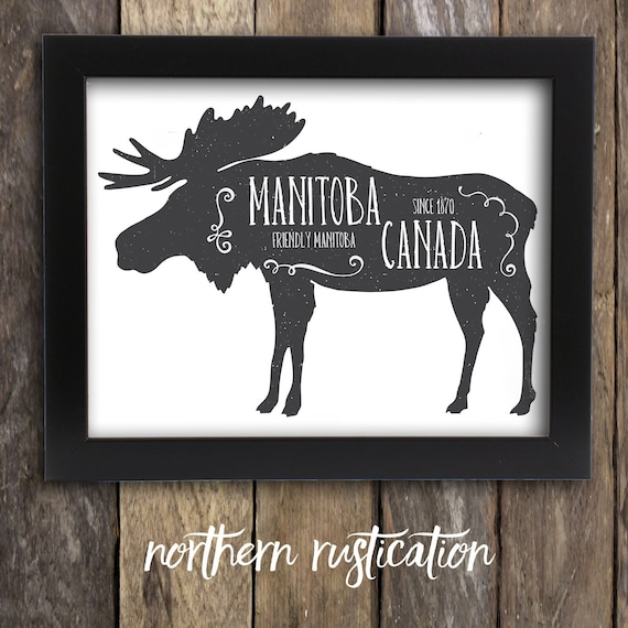 items similar to manitoba moose print canada praries