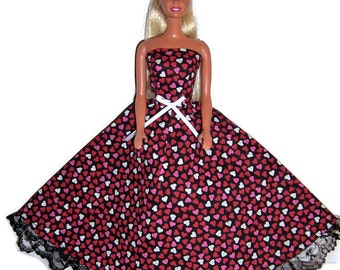Fashion Doll Clothes-Red/Pink Heart Print Strapless Dress