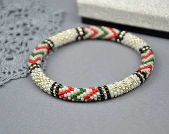 Christmas  beaded bracelet White Stretch bracelet Bead crochet rope christmas gift for her xmas bracelet beaded jewelry Gift for women