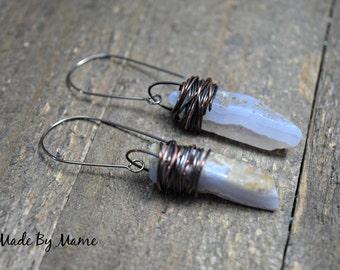 Rustic Blue Lace Agate Dangle Earrings, Freeform Gemstone Stick Earrings, Oxidized Copper Wire Wrapped, Niobium Earwires, Gypsy, Bohemian