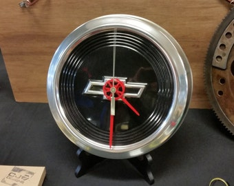 Chevy Dog Dish Hubcap Clock