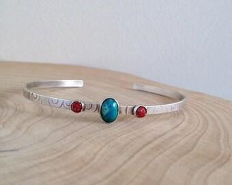 Sterling Silver Cuff Bangle , Cuff  Bracelet , Minimalist  Bracelet , Eilat stone bracelet , Coral stone bracelet