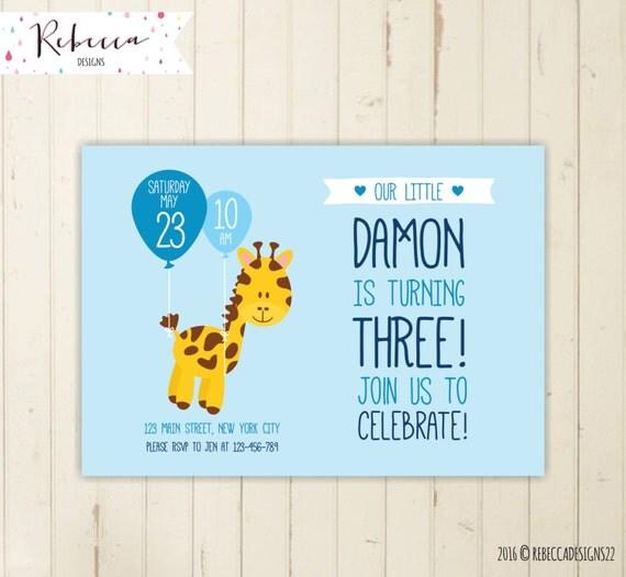 Giraffe birthday invitation zoo invitation boy birthday invitation il570xn stopboris Image collections