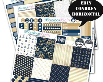 Nautical Stickers, Navy and Gold Planner Kit 200+ Summer Stickers, for Erin Condren Horizontal Planner Stickers #SQ00902-ECH