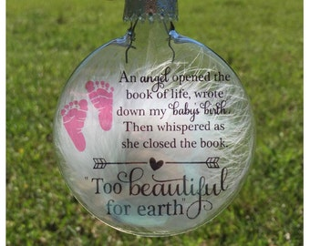 Miscarriage keepsake - Miscarriage gift - Too Beautiful for earth - Mom of an angel - Infant loss - Pregnancy loss - Mommy of an angel