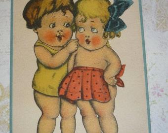 You and I Must Stick Together Forever Vintage Postcard