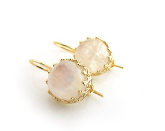 Moonstone earrings - Gold and Moonstone Earrings - Rainbow Moonstone - June Birthstone - Bridal / Bridesmaid Jewlery, Gift for her