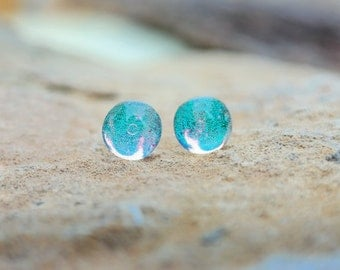 Mint green glass stud earrings - mint green studs - post earrings - dichroic earrings - tiny stud earrings - bridesmaid gift