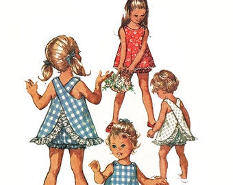 Vintage Toddler Girls Sundress Pattern Criss Cross Top and Ruffled Bloomer Panties Pattern Simplicity 8165 Size 2 2T