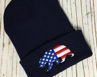 CALIFORNIA BEAR (American Flag) Embroidered Beanie Cuffed Cap - Navy Blue