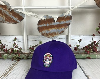 Dia De los Muertos Skull Day of the Dead Embroidered Halloween Baseball Cap Low Profile Curved Bill - Purple