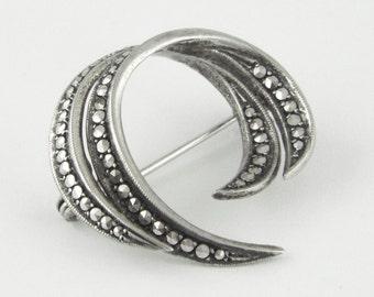 1950-60s - Vintage Art Deco Style Marcasites Silver 835 Pin / Brooch w/ Dutch Hallmarks