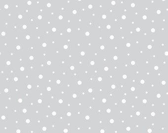 Gray Flannel Fabric, Little One Flannel Too, Maywood Studios MASF8228-KW, Gray & White Flannel Dots, Baby Quilt Fabric, Cotton Flannel