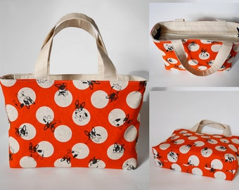 Zipper tote bag, canvas tote bag, zippered tote bag, canvas handbag, dog print, dog lover
