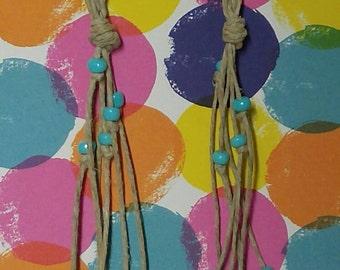 Turquoise Beaded Hemp Earrings Handmade, Hemp Earrings, Dangle & Drop Earrings, Turquoise Earrings, Handmade Candmjewelrydesigns.